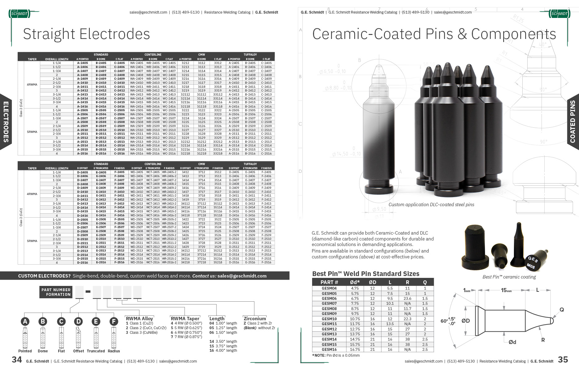 Straight Resistance Welding Electrodes and Ceramic Coated Pins and Components
