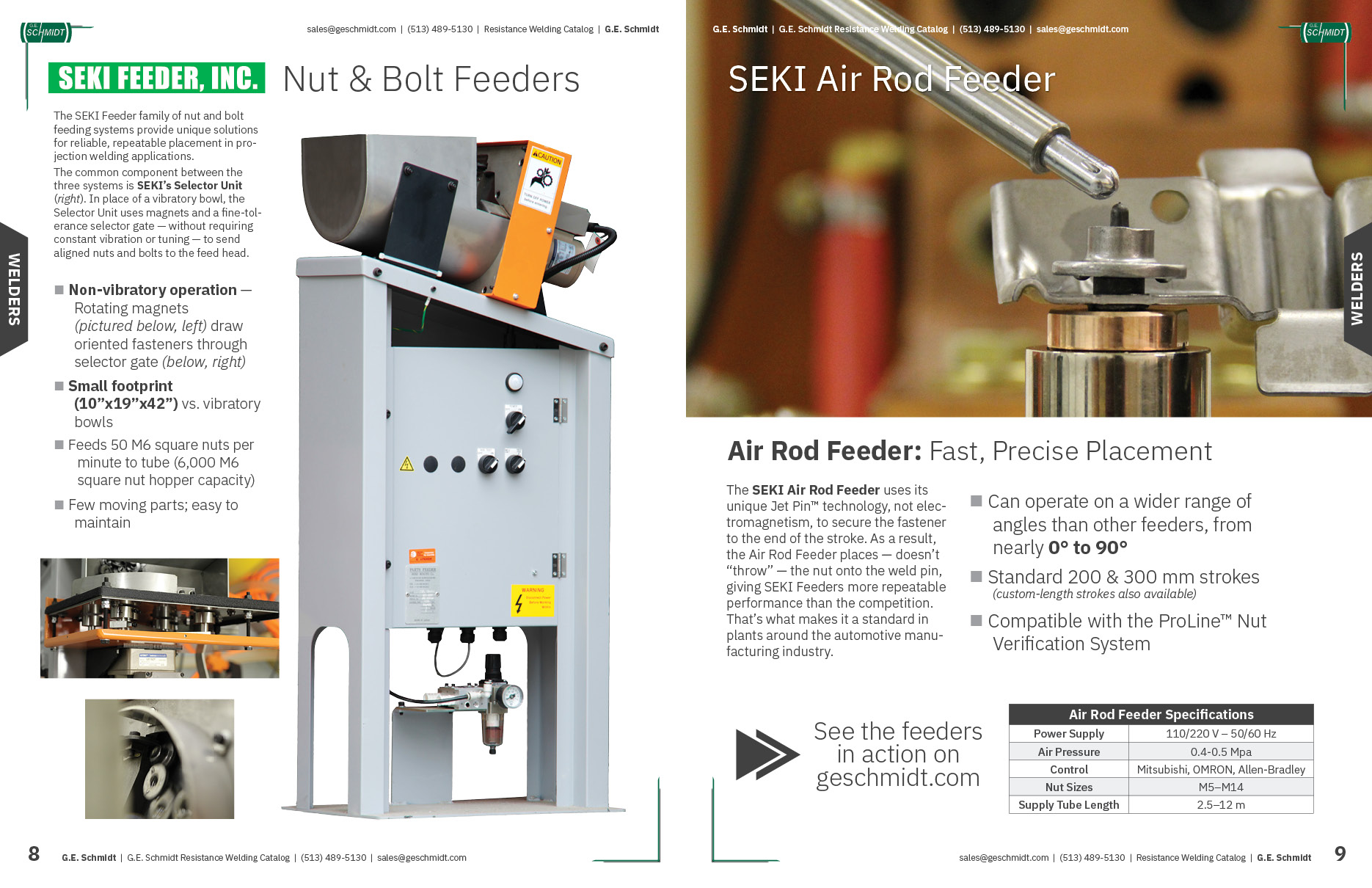 SEKI Nut and Bolt Feeders in the G.E. Schmidt Catalog